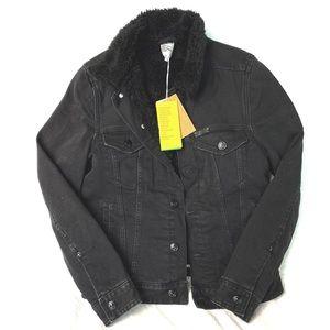 H&M Women's wool-lined black denim jacket